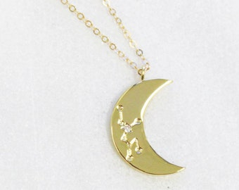 Constellation Moon Charm Necklace