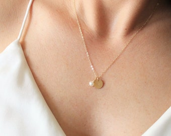 Petite Initial Disc Necklace with Freshwater Pearl Charm