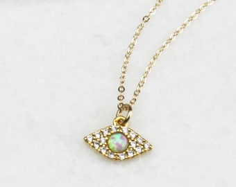 Tiny Pave and Opal Evil Eye Necklace