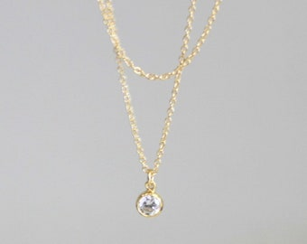 Layered Ultra Dainty Necklace with CZ