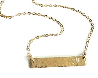 Hammered Dainty Bar Necklace in Silver or Gold