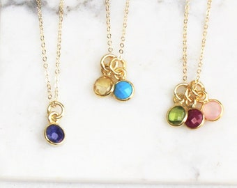 TINY Birthstone  Charm Necklace