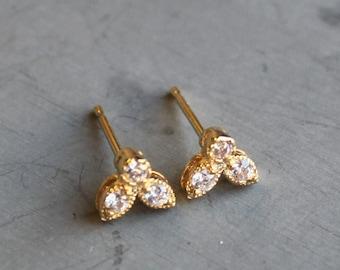 Tiny CZ Gold Earrings