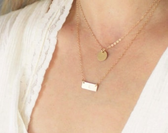 Petite Disc & Mini Bar Layered Necklace Set