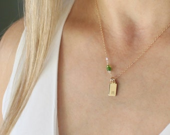 Dainty Initial Necklace w/ Birthstone wrapped in the Chain