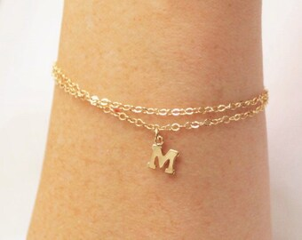 Double Chain Letter Charm Bracelet