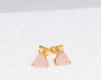 Pink Chalcedony Stud Earrings