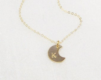 Tiny Moon Disc Necklace