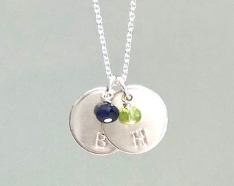 Initial Charm Necklace w/ Birthstone