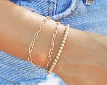 Paperclip Chain Bracelet - Silver or Gold