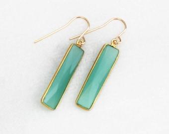 Gifts for Her, Pendant Earrings, Drop Earrings, Stone Choice, 14kt Gold Filled, Long Earrings, Dangle Earring - The Silver Wren