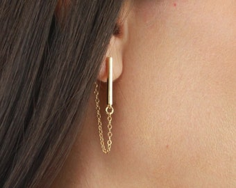 Gold Bar Earring with Chain Drop