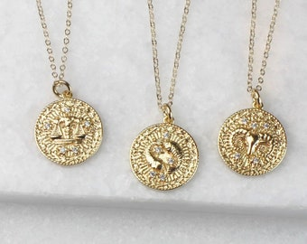 Zodiac CZ Coin Necklace