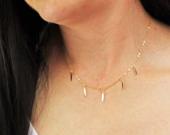 Coin Fringe Necklace - Silver or Gold