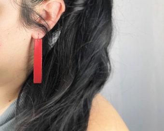 Leather Rectangle Earrings
