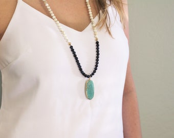 Long Pendant Necklace - Gray & Cream Jade