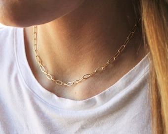 Paper Clip Necklace in Silver or Gold CN124