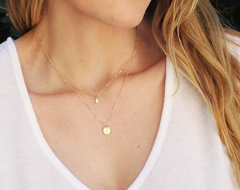 Gold Tiny Disc and Opal Layered Necklace Set