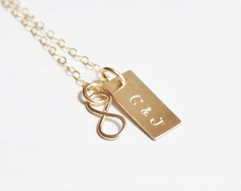 Tiny Gold Infinity or Heart with Mini Bar Necklace