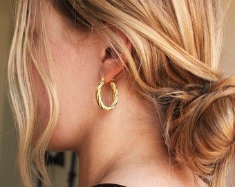 Gold Rope Hoop Earrings - Aura Collection