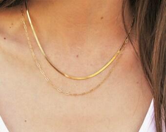 Layered Necklace Set of 2 Herringbone & Drawn Chains