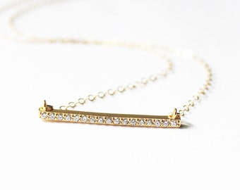 CZ Gold Necklace, Pave Necklace, Dainty Jewelry, Crystal Bar Necklace, Bridesmaid Gift, TheSilverWren