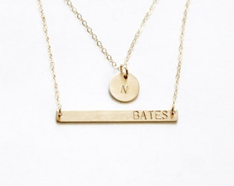 Layered Bar Necklace set of 2, Silver, Rose, Gold Personalized Necklace, Gift for her, Personalized Jewelry, Bar & Initial Necklace, Dainty