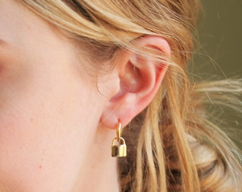 Padlock Hoop Earrings - Aura Collection