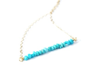 Genuine Turquoise Beaded Bar Necklace