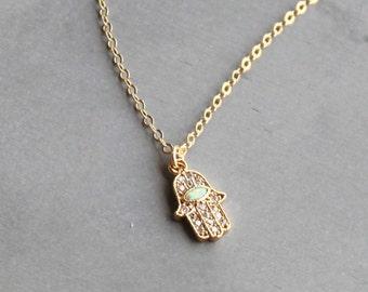 Tiny Pave Hamsa Necklace