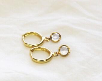 Birthstone Crystal Gold Hoop Earrings
