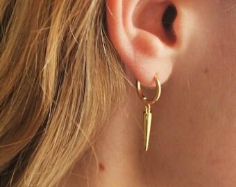 Spike Gold Huggie Hoop Earrings - Aura Collection