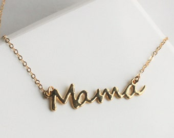 Mama Necklace, Mothers Day Gift, Silver or Gold