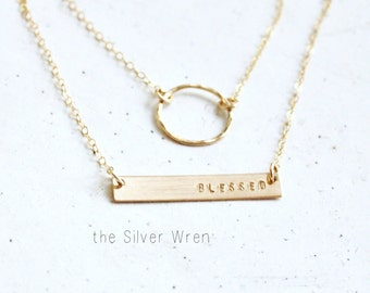Eternity Ring & Dainty Bar Layered Necklace Set