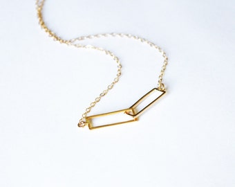 Dainty Necklace, Interlocking Gold Necklace, Delicate Gold Necklace, Everyday Necklace,  Layering Necklace, Bridesmaids Necklace, Rectangle