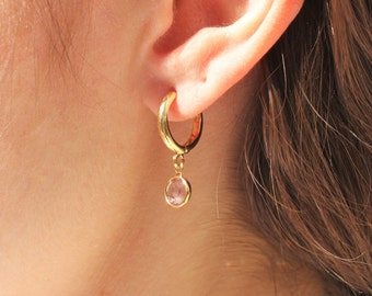 Birthstone Crystal Gold Hoop Earrings
