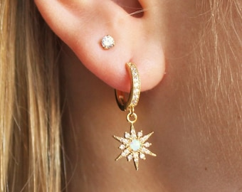 North Star CZ Huggie Hoop Earrings