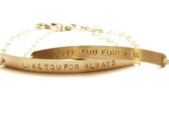 Long Gold Bar Bracelet