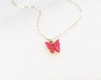 Tiny Butterfly Necklace - choose your color