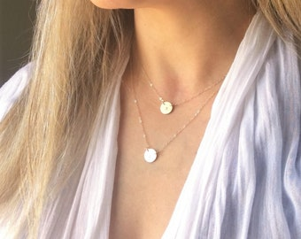 Suspended Petite Disc Layered Necklace Set