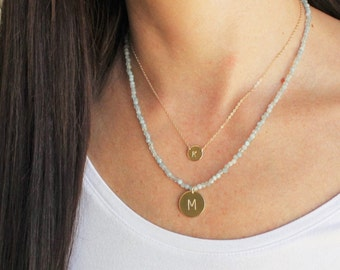 Custom Initial Disc & Beaded Gem Necklace - 16mm