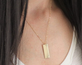 Wide Gold Bar Necklace