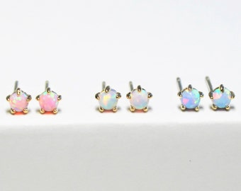 Tiny Opal Gold Earrings