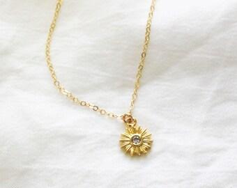 Tiny Gold Sun Necklace