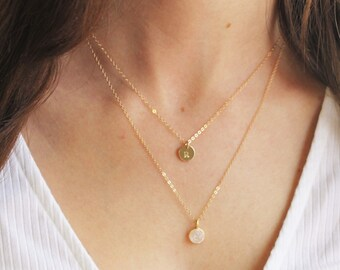 Gold Layered Necklace Set - Tiny Initial & Druzy