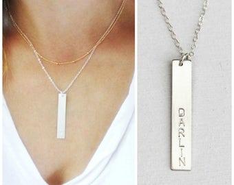 Bar Necklace, Personalized Necklace, Custom Name Necklace, Personalized Jewelry, Name bar Necklace, Hand Stamped Jewelry, Gift for Wife