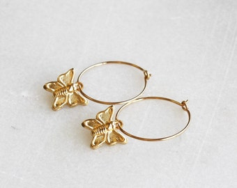 Gold Butterfly Hoop Earrings