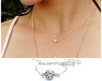 Delicate CZ Necklace in Silver or Gold Necklace