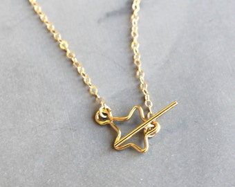 Gold Star Toggle Necklace