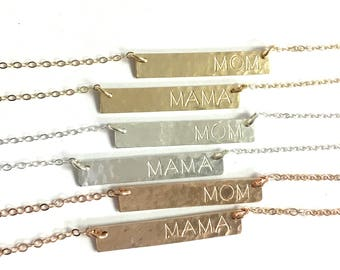 Mothers Day Jewelry, Unique Mother's Day Gift, Gift for Mom, Bar Necklace, Mom or Mama Necklace, Personalized Necklace, The Silver Wren